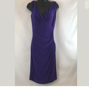 Ralph Lauren Purple Dress Ruched  Sleeveless